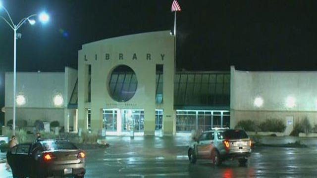 Police in the parking lot at the Jefferson County Library after a stabbing (Credit: KMOV)