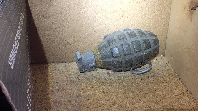 A family found this grenade in their father's garage in Belleville Friday afternoon. (Credit: Belleville Fire Department)