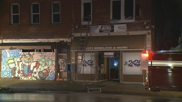 JB 2021 Wireless and More on E. Grand Blvd. went up in flames early Friday morning. The owner's dog was severely hurt. (Credit: KMOV)