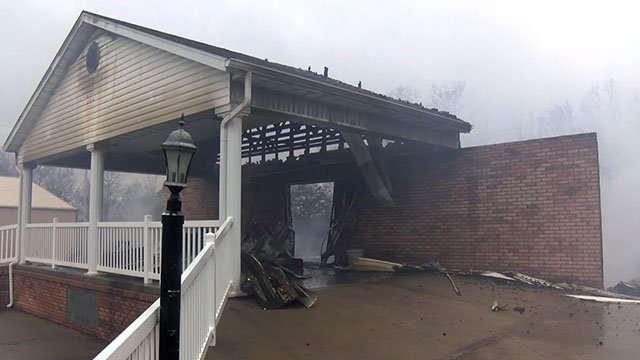 The front entrance remains after a furnace exploded inside a church in Marquand, Mo. ( Credit: KMOV)