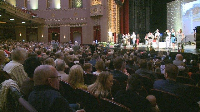 All donations collected during the offering at this Easter Sunday service at the Peabody Opera House will go toward funding a literacy program at St. Louis Public Schools. (Credit: KMOV)