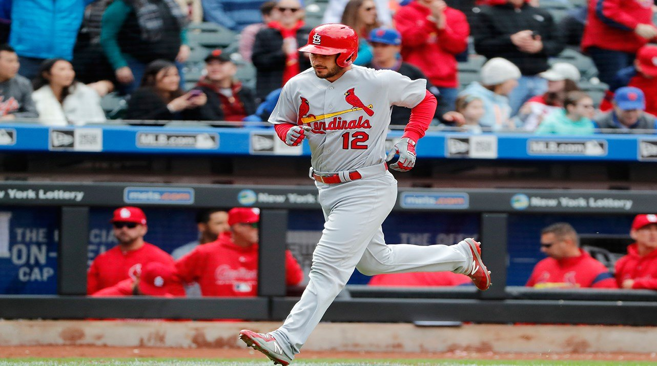 St. Louis Cardinals' Paul DeJong (12) trotst the bases afer hitting the second of his two home runs during a baseball game against the New York Mets, Sunday, April 1, 2018, in New York. (AP Photo/Kathy Willens)