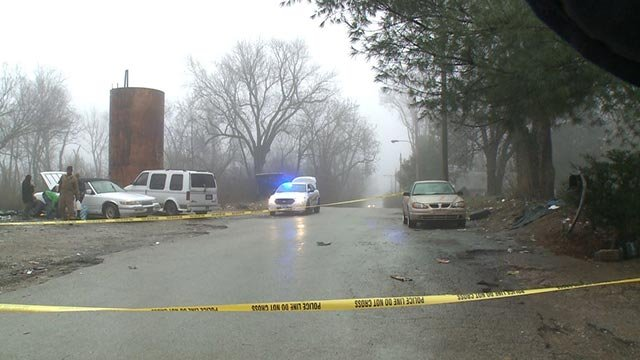 Police on scene after a person was shot in Kinloch Tuesday (Credit: KMOV)