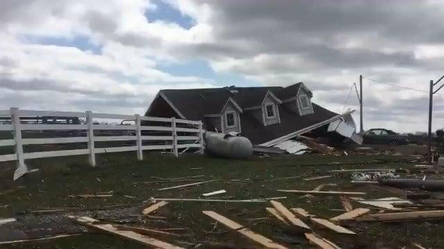 Damage down by an EF-2 tornado in Vandalia, Ill. (Credit: KMOV)