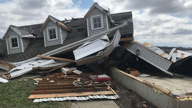 Damage to a home near Vandalia, Ill from an EF-2 tornado taken by a News 4 viewer. (Credit: Amy Lemasters Vieregge)