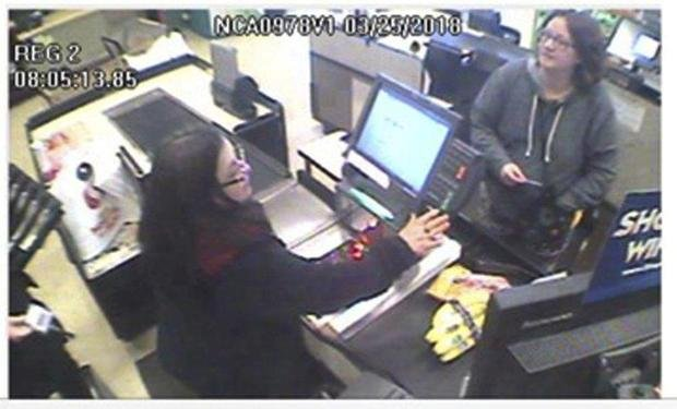 Authorities are investigating whether the woman seen in this surveillance image is Jennifer Hart. (CHP VIA AP)
