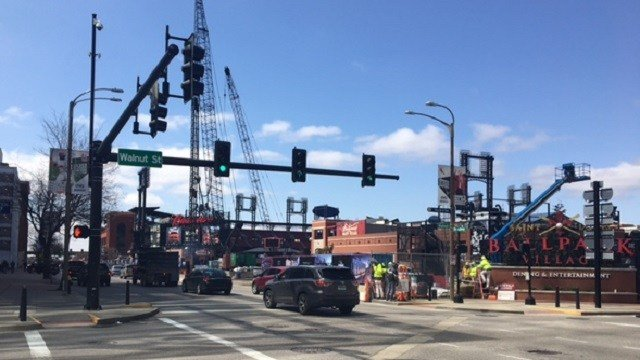 Construction crews at Ballpark Village in St. Louis (KMOV)
