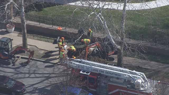 Firefighters are urging drivers to avoid the intersection of Macklind and Wilson due to a broken gas line. Credit: KMOV