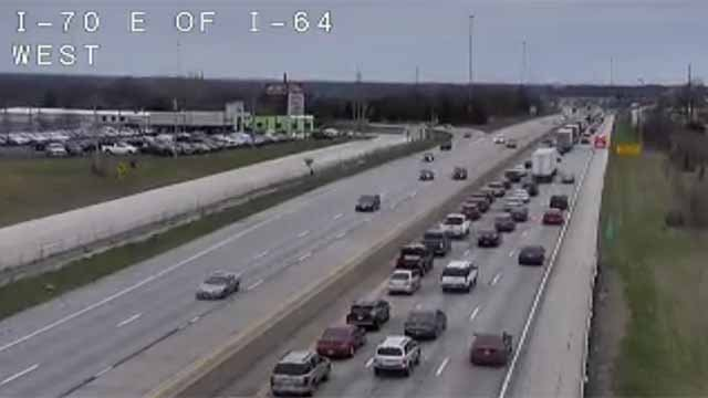 An accident has closed all lanes of westbound I-70 near I-64 in Wenztville. Credit: MoDOT
