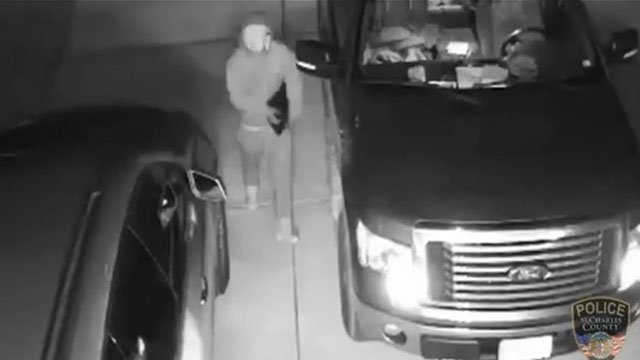 Surveillance images released show a man believed to be involved in a recent break in and car theft in Friday (Credit: KMOV)