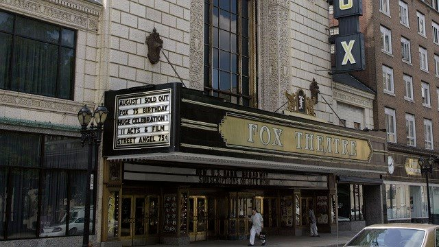 The Fox's marquee, shown Wednesday, July 28, 2004, in St. Louis, announces the planned 75th anniversary party for the theater. (AP Photo/Tom Gannam)