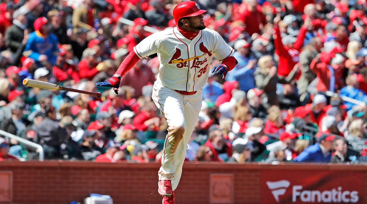 St. Louis Cardinals' Jose Martinez watches his three-run home run during the third inning of a baseball game against the Arizona Diamondbacks Saturday, April 7, 2018, in St. Louis. (AP Photo/Jeff Roberson)