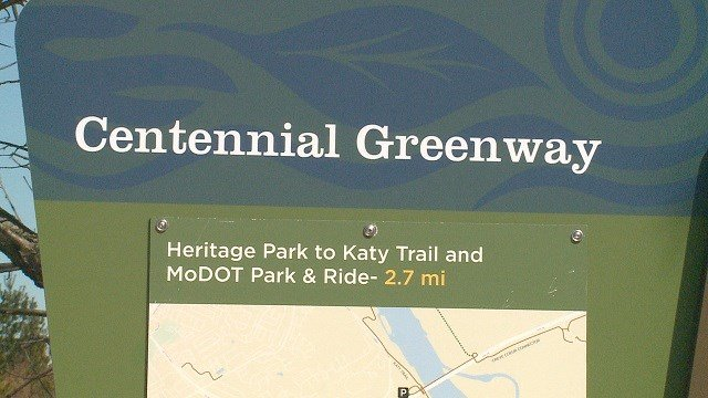 The sign for the Centennial Greenway. (Credit: KMOV)