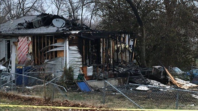 A home in Webster Groves has extensive damage after it exploded and caught fire late Sunday night. (Credit: KMOV)
