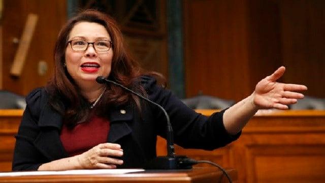 In this Feb. 14, 2018, photo, Sen. Tammy Duckworth, D-Ill., speaks to Goldman Sachs 10,000 Small Businesses Summit, on Capitol Hill, in Washington. (AP Photo/Alex Brandon)