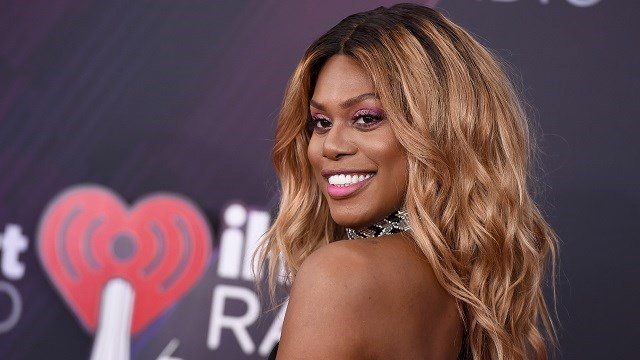 Laverne Cox arrives at the iHeartRadio Music Awards at The Forum on Sunday, March 11, 2018, in Inglewood, Calif. (Photo by Jordan Strauss/Invision/AP)