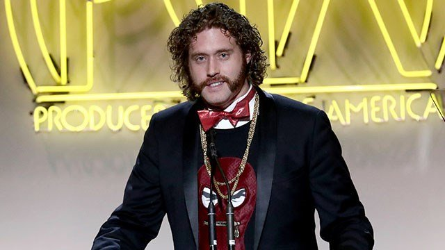 T. J. Miller speaks at the 28th Annual Producers Guild Awards at the Beverly Hilton on Saturday, Jan. 28, 2017, in Beverly Hills, Calif. (Photo by John Salangsang/Invision for Producers Guild of America/AP Images)