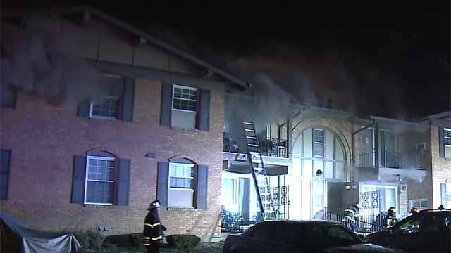 A two-alarm fire broke out in the 3100 block of Leisurewood in Florissant on Tuesday. Credit: KMOV