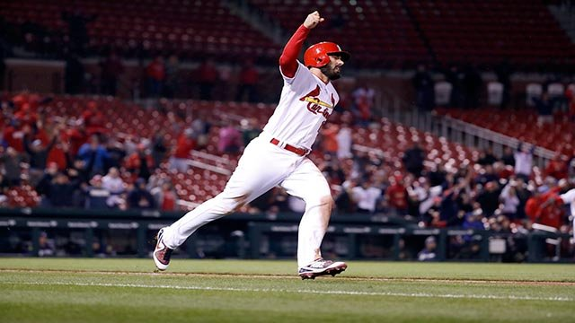 St. Louis Cardinals' Matt Carpenter celebrates after hitting a walk-off home run during the 11th inning of a baseball game against the Milwaukee Brewers Tuesday, April 10, 2018, in St. Louis. The Cardinals won 5-3. (AP Photo/Jeff Roberson)