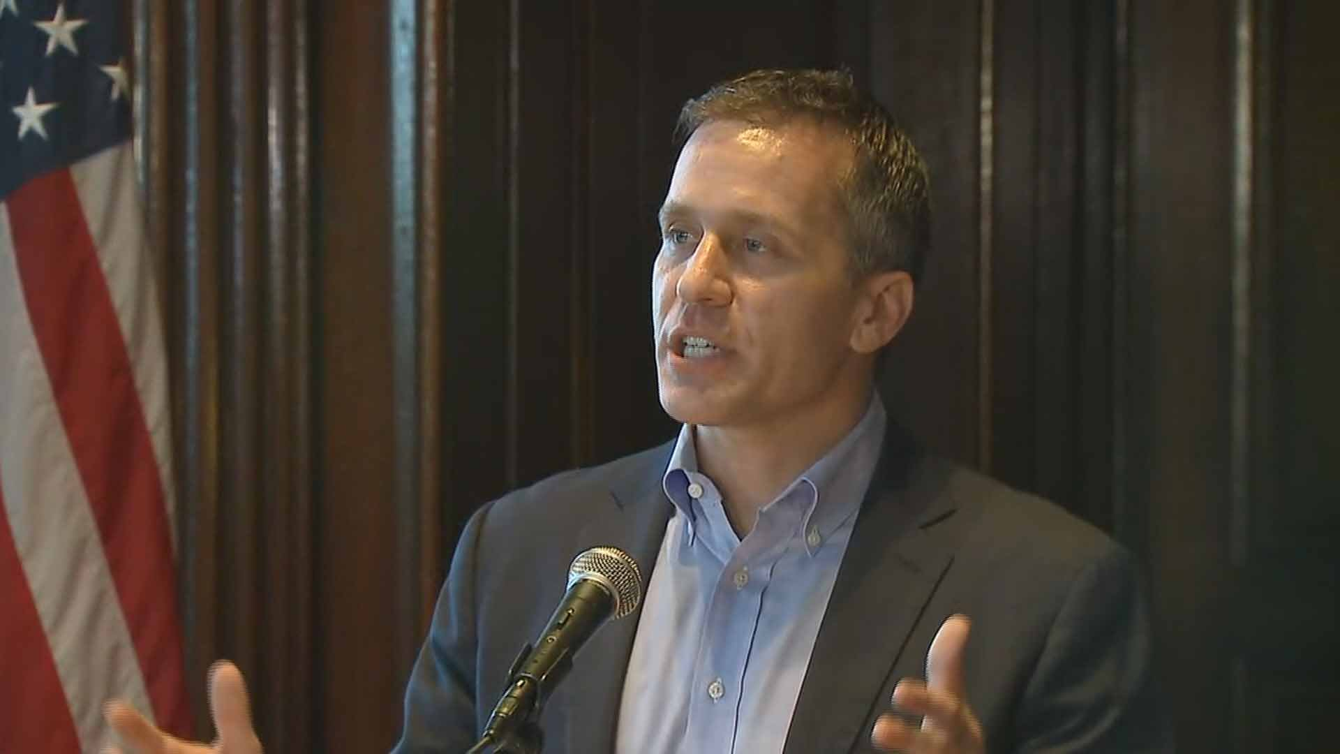 Mo. Gov. Eric Greitens announces he won't step down ahead of a report released by a legislative committee investigating him. Credit: KMOV