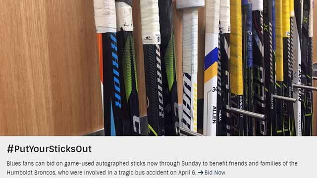 The Blues are helping the families of victims in a deadly crash that involved a junior hockey team in Canada. Credit: St. Louis Blues