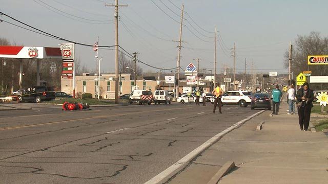 A motorcyclist was killed in a crash on Lemay Ferry Road Wednesday (Credit: KMOV)