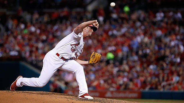 St. Louis Cardinals relief pitcher Mike Mayers throws during the sixth inning of a baseball game against the Washington Nationals Sunday, July 2, 2017, in St. Louis. (AP Photo/Jeff Roberson)