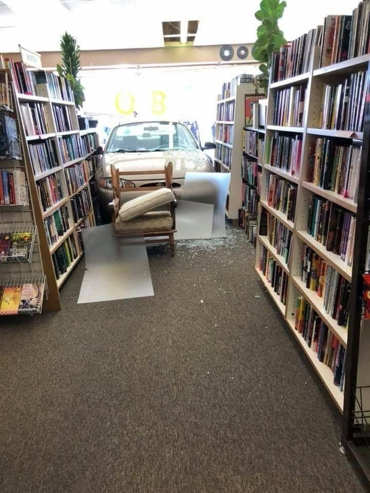 A car, driven by a 17-year old with a learners permit, crashed through the front of the Books Galore bookstore in Festus.