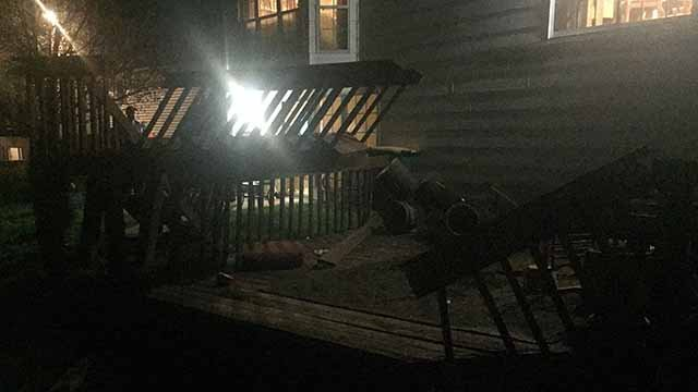 Firefighters said about 15 people were on a deck when it collapsed in O'Fallon, Illinois on Thursday night. Credit: KMOV