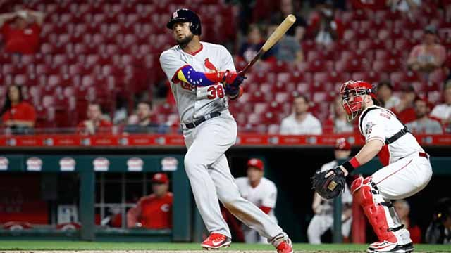 Jose Martinez #38 of the St. Louis Cardinals hits an RBI double in the ninth inning against the Cincinnati Reds at Great American Ball Park on April 12, 2018 in Cincinnati, Ohio. (Photo by Andy Lyons/Getty Images)
