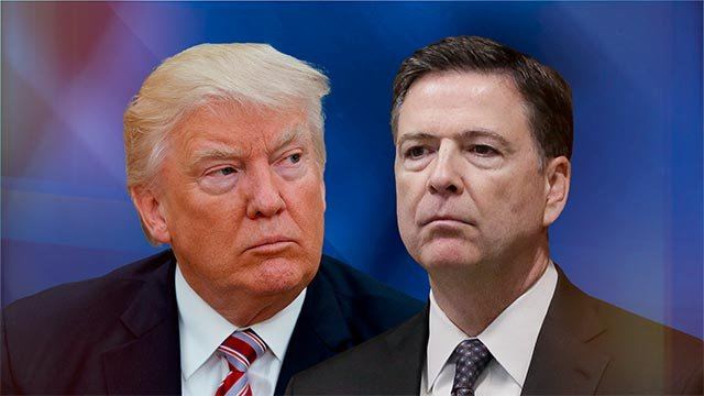 Donald Trump, US President, and James Comey, former FBI Director (l-r), on texture, partial graphic (Credit: AP)