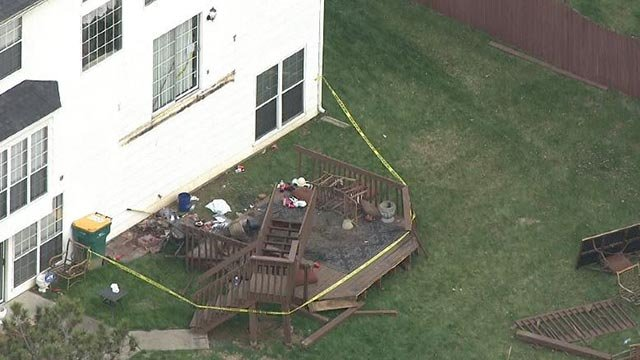 A deck in the 1300 block of Winding Creek Court collapsed Thursday night (Credit: KMOV)