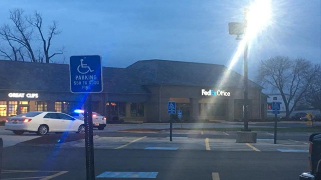 Police surround the FedEx store in South County after reports of a suspicious package. (Credit:Viewer Tina Dammrich)