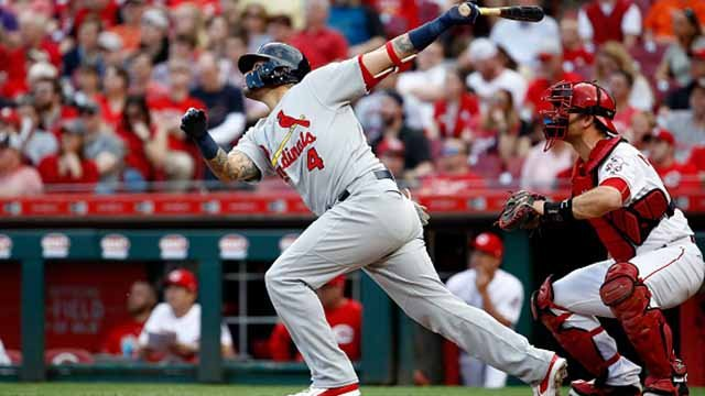 Yadier Molina #4 of the St. Louis Cardinals hits a home run in the second inning against the Cincinnati Reds at Great American Ball Park on April 13, 2018 in Cincinnati, Ohio. (Photo by Andy Lyons/Getty Images)