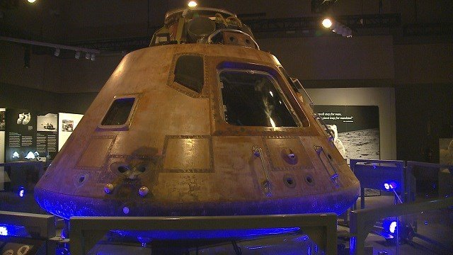 The command module from the Apollo 11 mission is on display at the St. Louis Science Center. (Credit: KMOV)