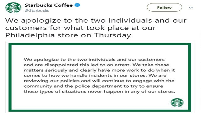 Starbucks issued an apology after two black men were arrested for allegedly trespassing (Credit: Starbucks / Twitter)