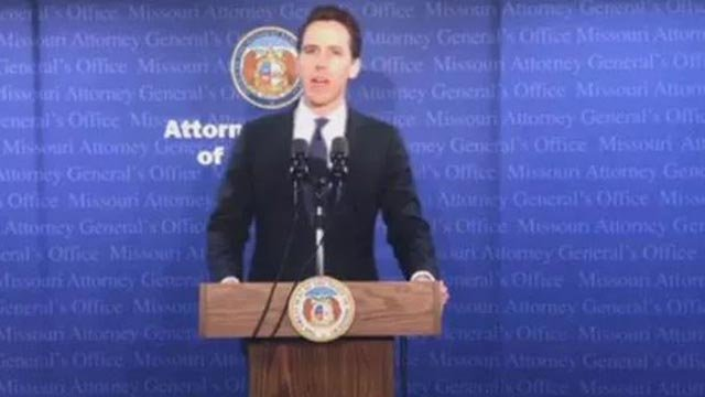 Missouri Attorney General Josh Hawley at a news conference Tuesday, April 17 (Credit: Missouri Attorney General's Office / Facebook)