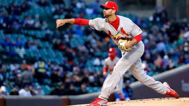 St. Louis Cardinals starting pitcher Adam Wainwright delivers during the first inning of a baseball game against the Chicago Cubs Tuesday, April 17, 2018, in Chicago. (AP Photo/Charles Rex Arbogast)