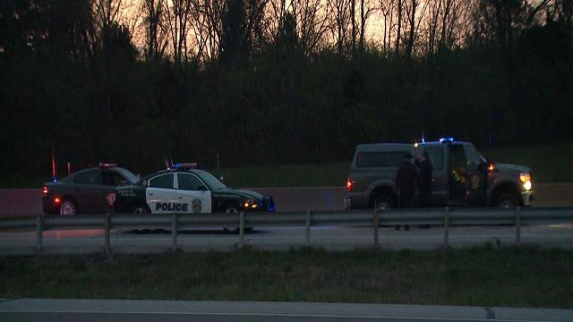 Police on Highway 141 near Clayton Road after a woman was struck & killed Wednesday (Credit: KMOV)