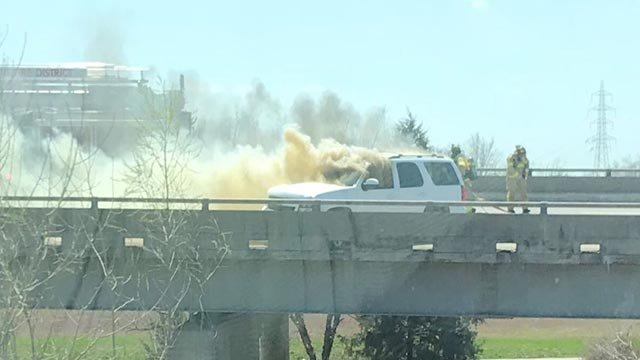 A car caught fire on I-44 Wednesday (Credit: Russell Kinsaul / News 4)