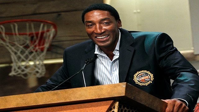 Basketball Hall of Fame inductee Scottie Pippen speaks during the enshrinement news conference at the Hall of Fame Museum in Springfield, Mass. Friday, Aug. 13, 2010. (Credit: AP Photo/Elise Amendola)