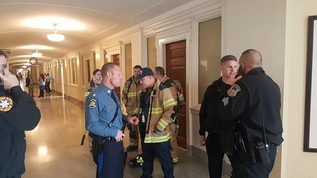 Firefighters on the 3rd floor of capitol (Credit: Columbia Daily Tribune)
