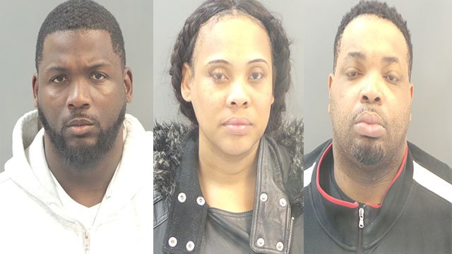 Lamonte Brown (left), Khatira Hunt-Rogers (center), and Jason Holmes (right) in connection with multiple break-ins near Downtown ( Credit: KMOV)