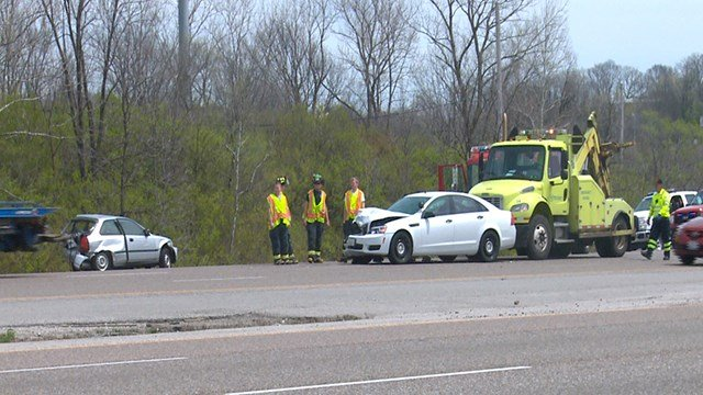An unmarked police car and a cow were involved in an accident near Caseyville, Illinois (Credit: KMOV)