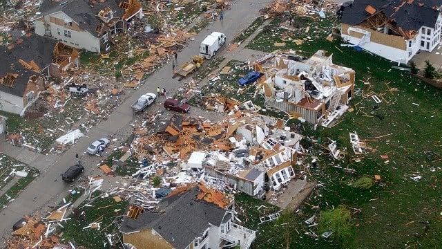 A neighborhood damaged by a tornado is seen April 23, 2011, in Bridgeton, Mo. (AP Photo/Jeff Roberson)