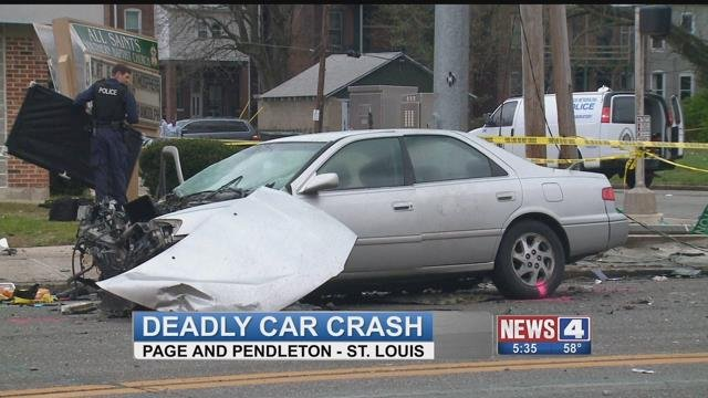 A two vehicle accident in North St. Louis left one person dead Sunday afternoon.  (Credit: KMOV)