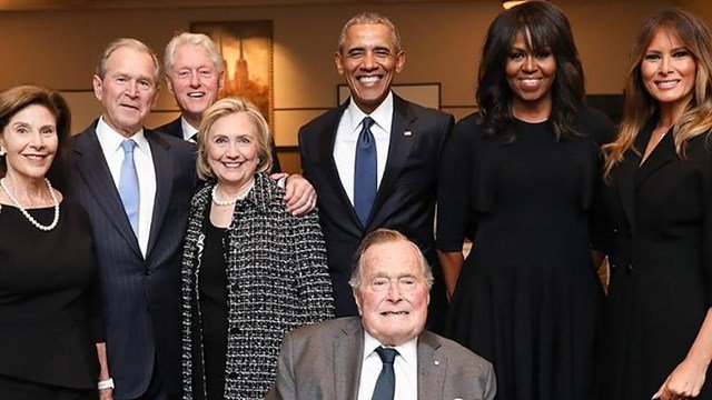 First lady Melania Trump and several generations of presidents pay tribute to the late Barbara Bush at her funeral. ( Credit: CNN)