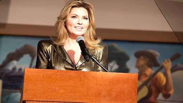 "Artist Shania Twain speaks at the exhibit opening of ""Shania Twain: Rock This Country"" at the Country Music Hall of Fame and Museum on Tuesday, June 27, 2017 in Nashville, Tenn. (Photo by Laura Roberts/Invision/AP)"