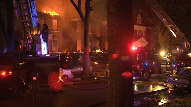 Firefighters in the 5000 block of Vernon Sunday night (Credit: KMOV)