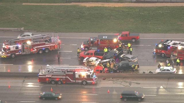 Multiple people were injured in a multi-vehicle crash on northbound I-270 near Page Monday morning (Credit: KMOV)